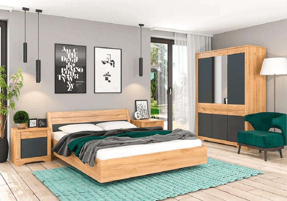 Colecţia Fidel pentru dormitor stejar craft auriu/gri grafit
