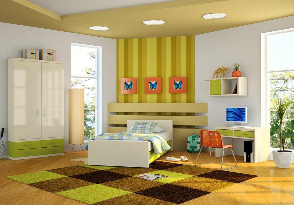 Žlté steny a doplnky v detskej izbe