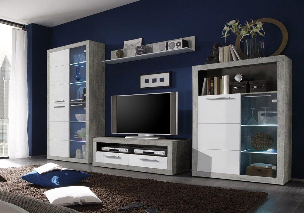 Obývacia stena Slone, biela, beton