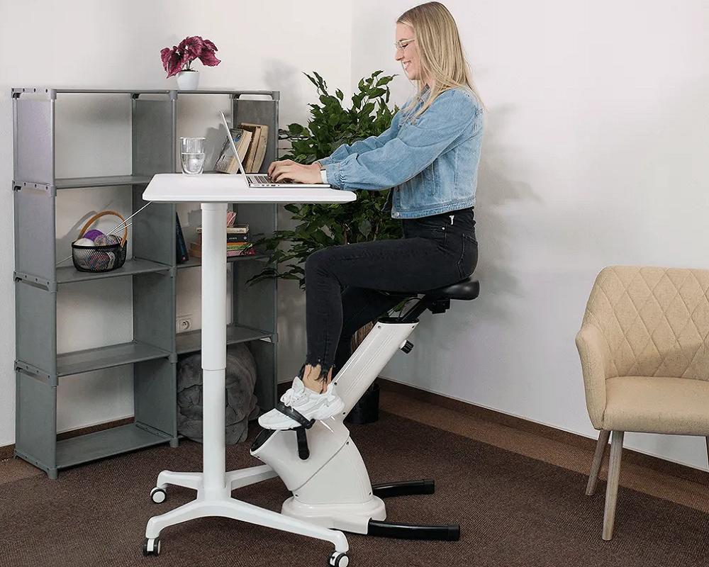 Scaun de birou / bicicletă staţionară, alb, BIKE