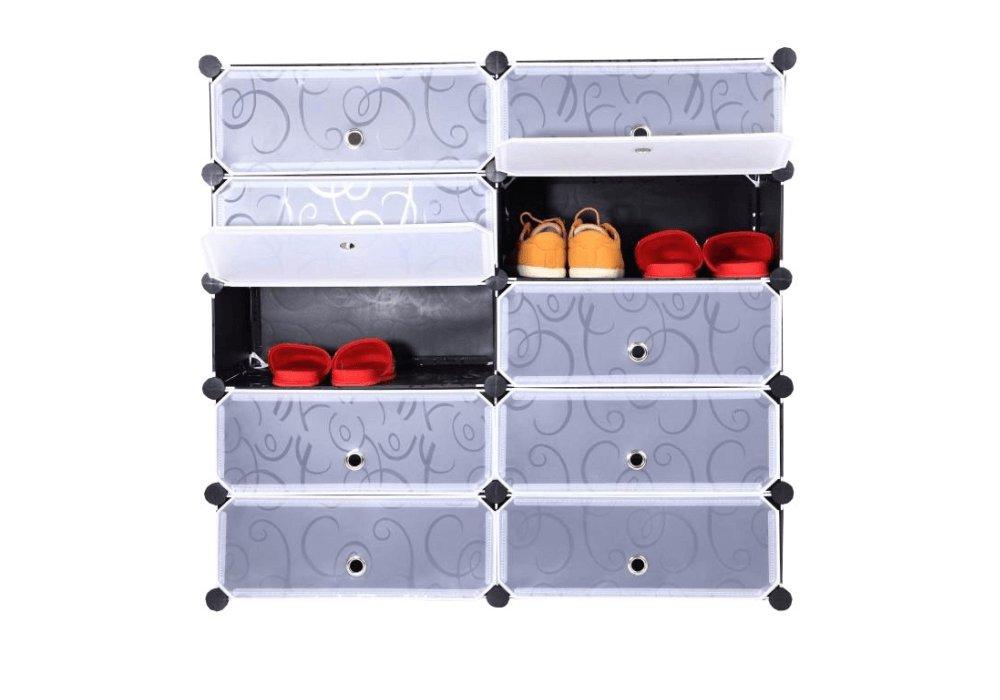 Organizator de pantofi modular, negru / alb lapte, BEKIM TYPE 1
