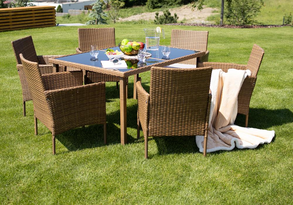Kerti garnitúra, étkezőasztal+6db szék, rattan, méz/krém, GARDEN