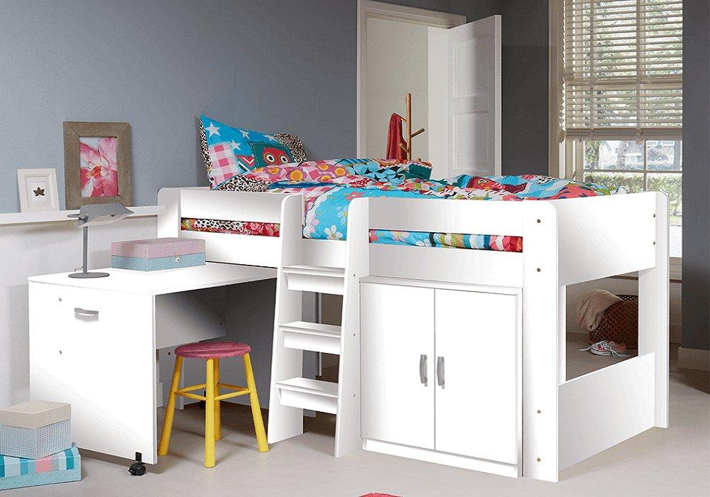 Kombinált ágy gyerekszobába, fehér, FANY