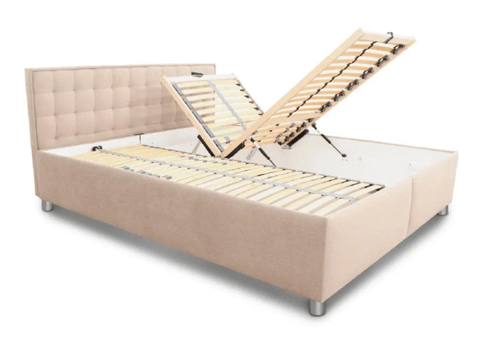 Manželská posteľ, svetlohnedá/vzor, 160x200, BORI