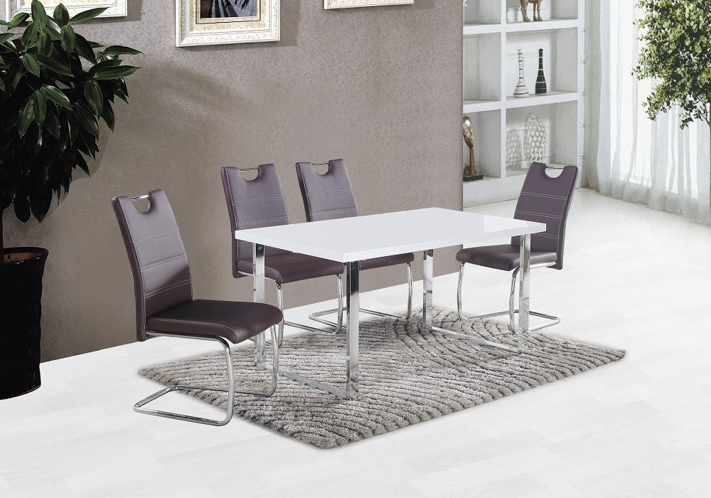 Sivé jedálenské stoličky Abira pri jedálenskom stole
