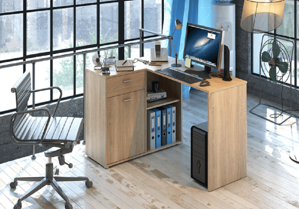 Písací stôl Kalimero so skrinkou v prevedení dub sonoma