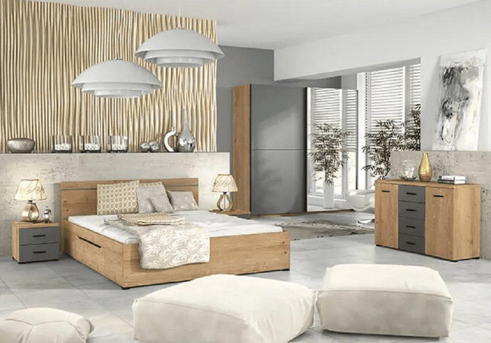Mobilă pentru dormitor Utah stejar grandson auriu/gri uni