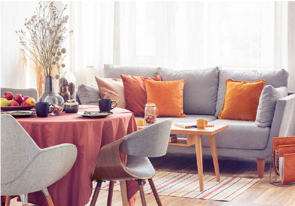 Obývačka vo farbách jesene