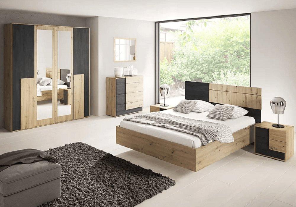 Colecţia pentru dormitor Bafra stejar artisan/pin negru norvegian