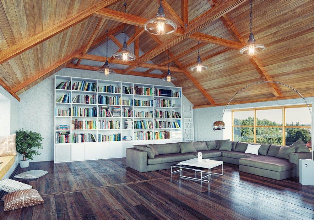 Otvorené podkrovie s knižnicou