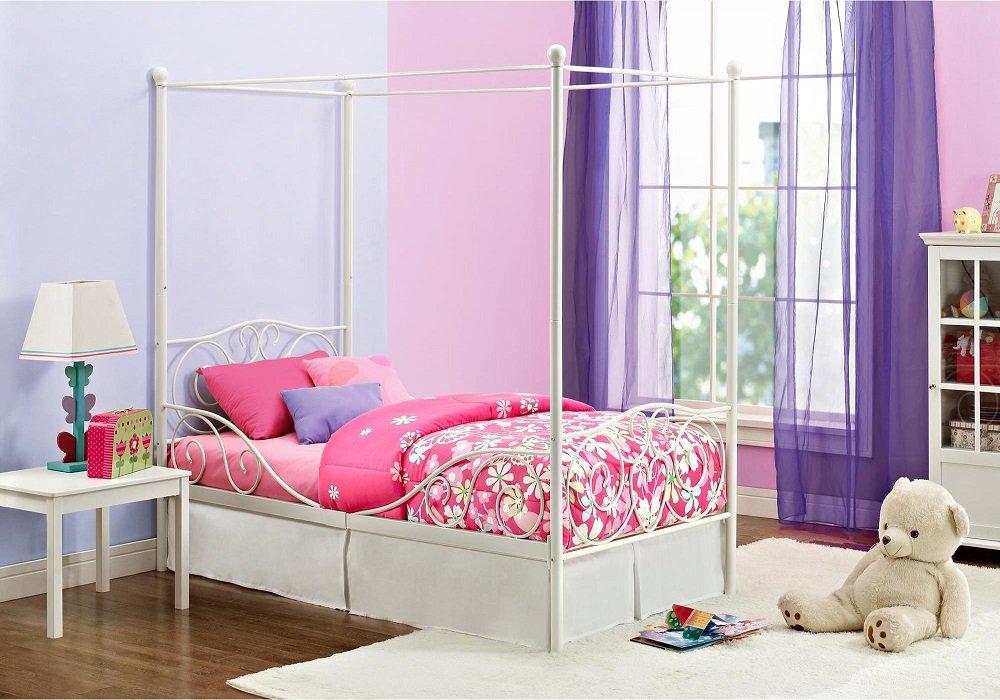 Dievčenská posteľ s nebesami Adelisa s ružovým paplónom