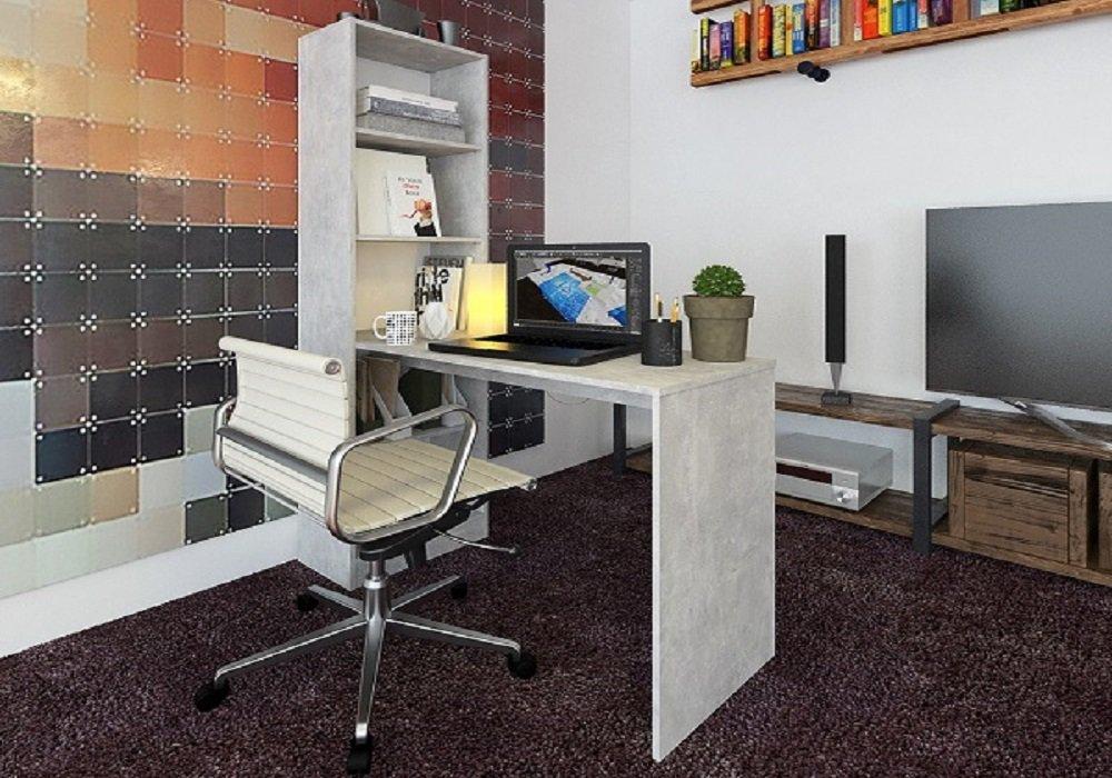 Písací stôl s regálom Jasmin v prevedení betón