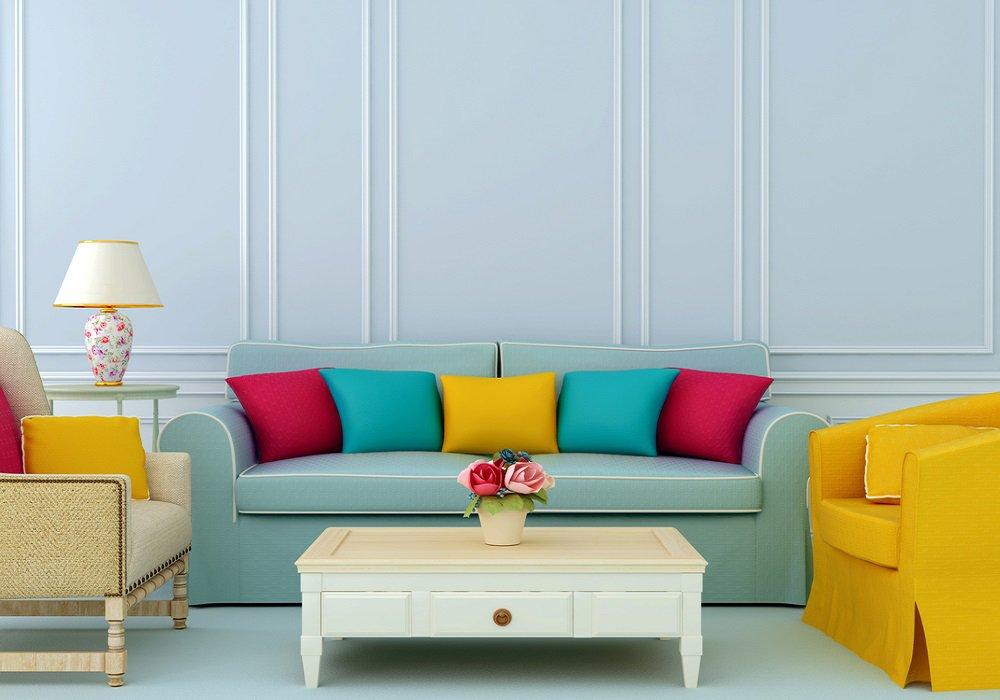 Mintová sedačka s farebnými vankúšmi