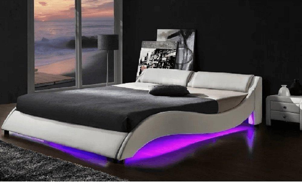 Pat cu RGB LED iluminare, piele ecologică albă, 160x200, PASCALE