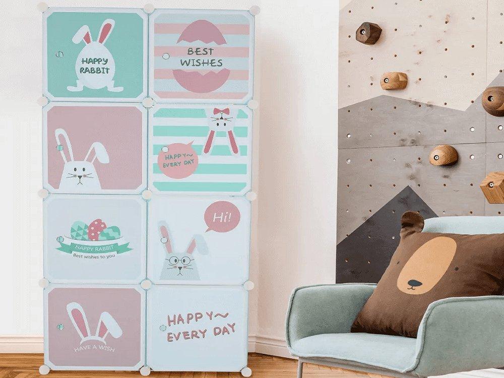 Detská modulárna skriňa, modrá/detský vzor, FRIN