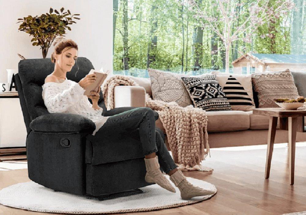 Fotoliu reglabil masaj, material textil catifea gri, LAMBERT
