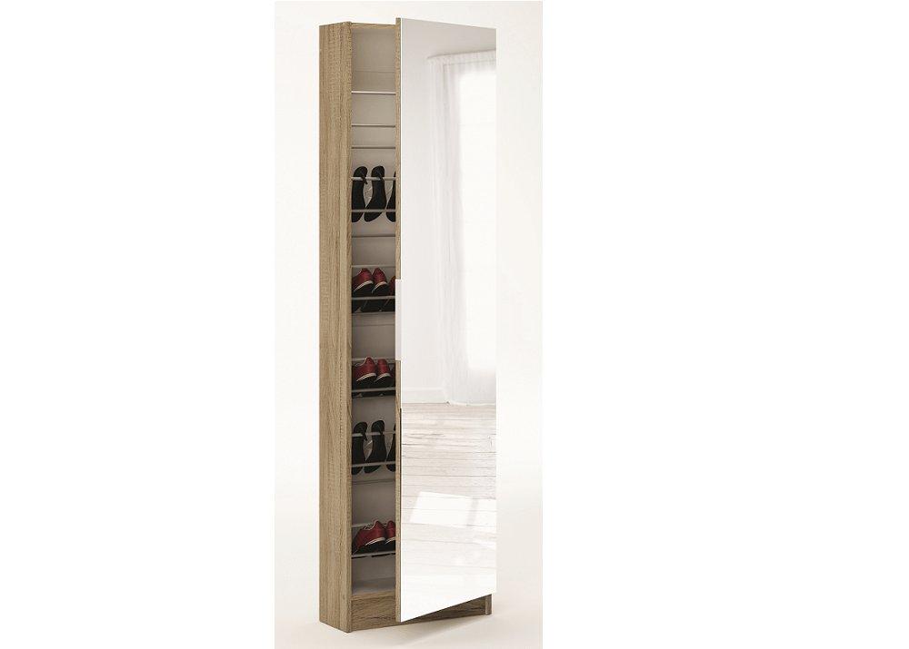 Cipős szekrény tükörrel, sonoma tölgyfa, KAPATER 305397