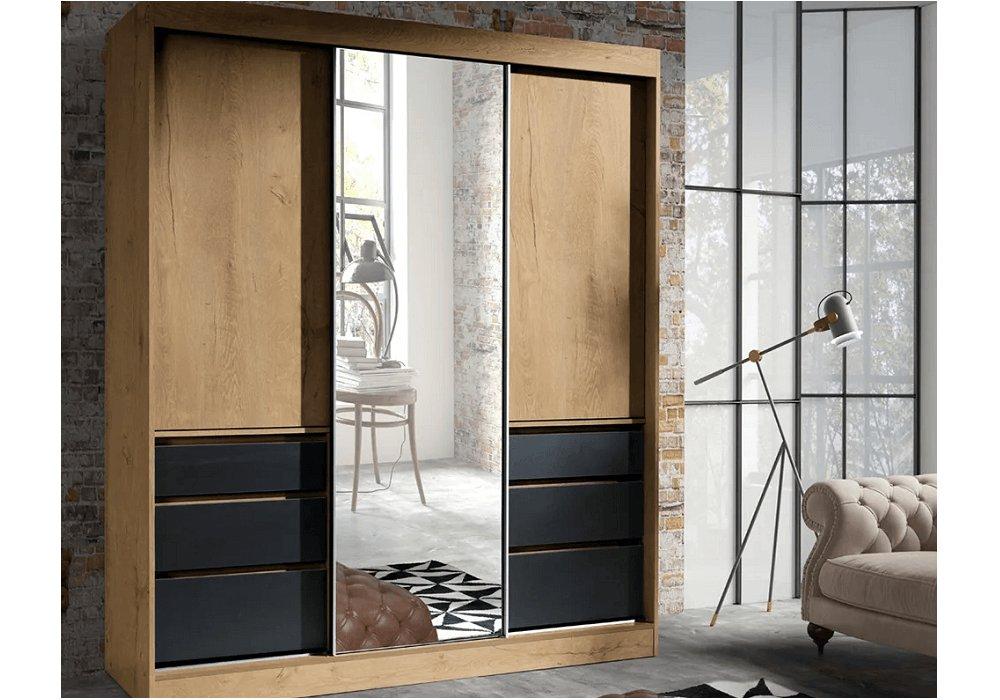 Skriňa s posúvacími dverami, dub lefkas/čierna, 180, ROMUALDA