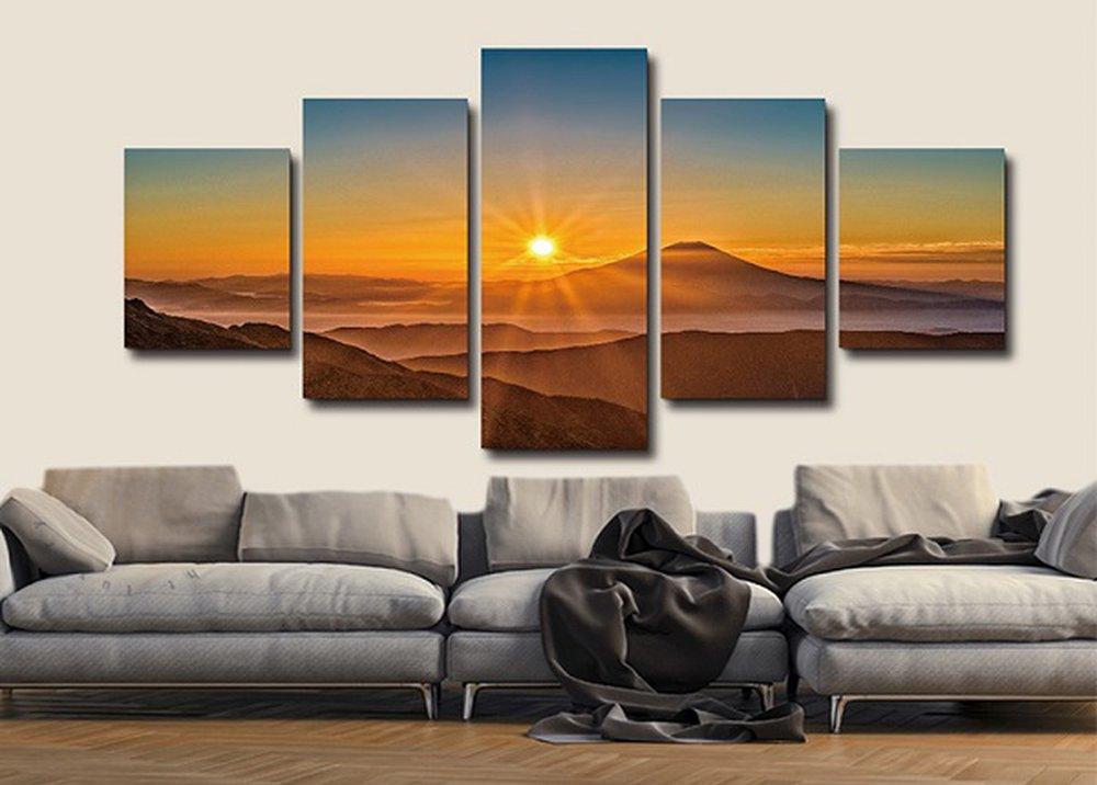 Päťdielny obraz s krajinou na stene