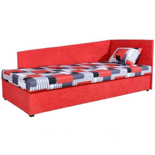 Celočalúnená váľanda s molitánovým matracom, pravá, červená/vzor, EDVIN 4 LUX