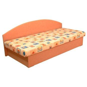 Celočalúnená váľanda s molitánovým matracom, oranžová/vzor, EDVIN 03
