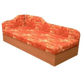 Váľanda s molitánovým matracom, ľavá, oranžová/vzor, EDVIN 4.2
