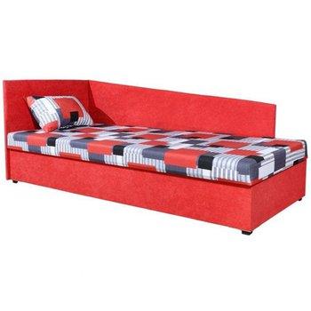 Celočalúnená váľanda s pružinovým matracom, ľavá, červená/vzor, EDVIN 4 LUX