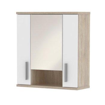 Závesná skrinka so zrkadlom, biela pololesk/dub sonoma, LESSY LI 01