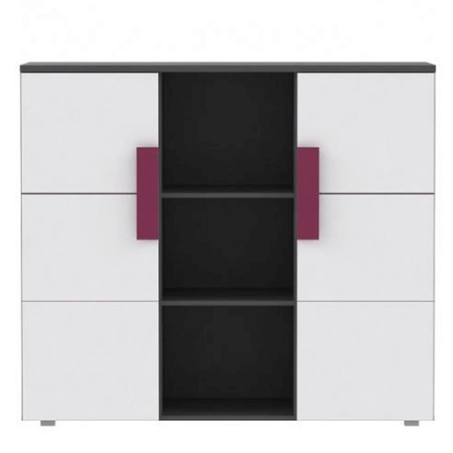 Kombinovaná komoda, sivá/biela/fialová, LOBETE 43