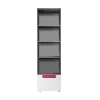 Vitrína, sivá/biela/fialová, LOBETE 81