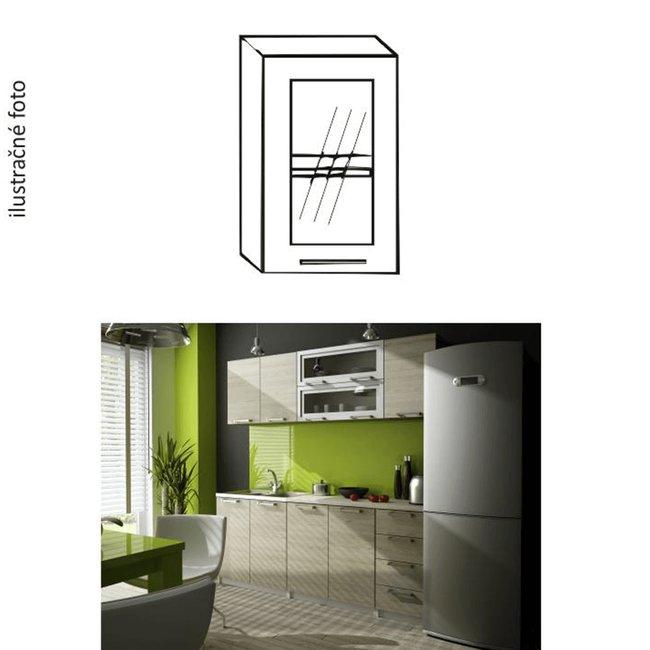Kuchynská skrinka, pravá, dub sonoma/biela, strieborné orámovanie/sklo, IRYS GW-40