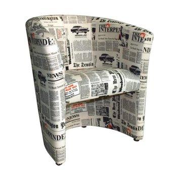 Klubové kreslo, látka vzor noviny, CUBA
