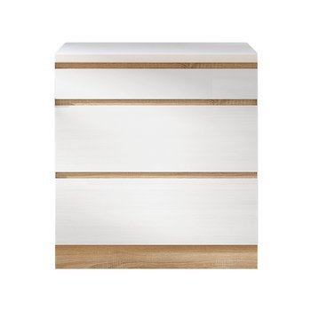 Dolná skrinka D 80 3, vysoký biely lesk/dub sonoma, LINE