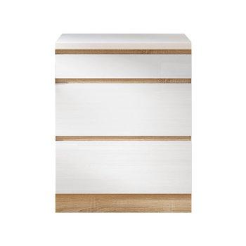 Dolná skrinka D 60S3, vysoký biely lesk/dub sonoma, LINE