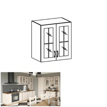 Horná skrinka so sklom, biela/sosna nordická, ROYAL G60S