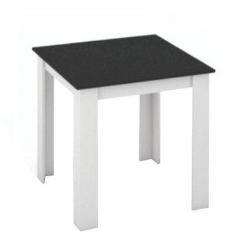 Jedálenský stôl, biela/čierna, 80x80, KRAZ