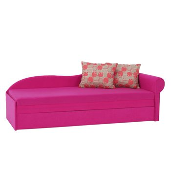 Rozkladacia pohovka, ružová/vzorované vankúše, pravá, AGA D