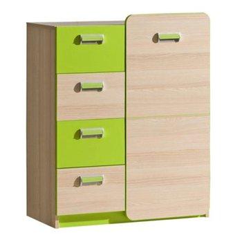 Komoda, 1 dverová so 4 šuplíkmi, jaseň/zelená, EGO L6
