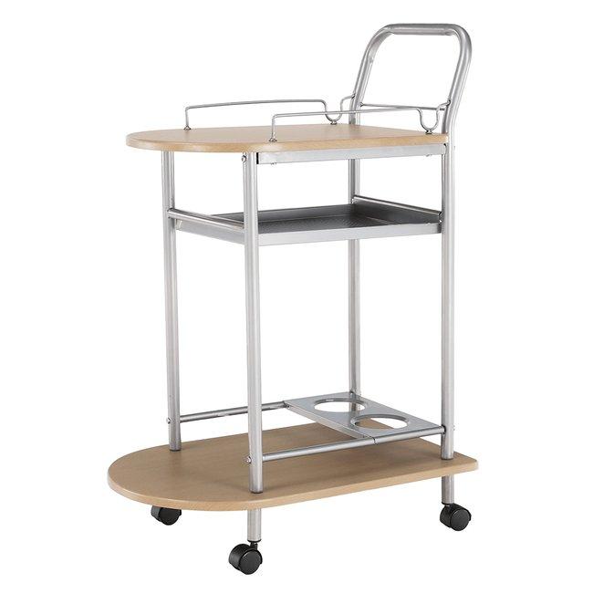 Servírovací stolík, buk/strieborný, LIMA, rozbalený tovar