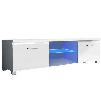 RTV stolík, biela/biela extra vysoký lesk HG, LUGO 2