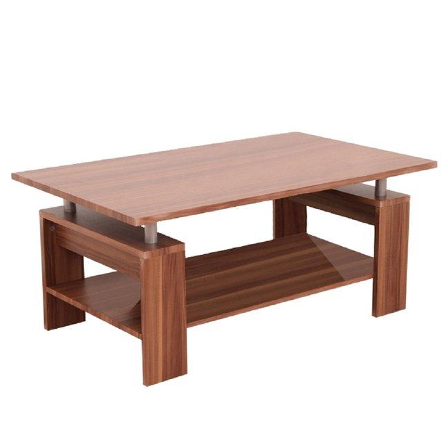 Konferenčný stolík, svetlý orech/strieborná, ROKO, rozbalený tovar