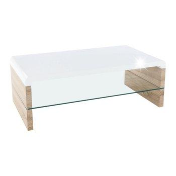 Konferenčný stolík, dub sonoma/biela extra vysoký lesk HG, KONTEX 2 NEW R1, rozbalený tovar
