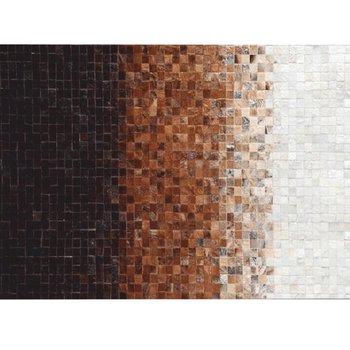 Luxusný kožený koberec, biela/hnedá/čierna, patchwork, 140x200, KOŽA TYP 7