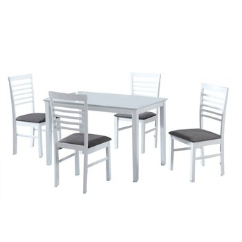 Jedálenský set, MDF biela/látka sivá, BRISBO 1+4