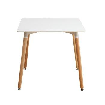Jedálenský stôl, biela/bukové nohy, DIDIER  2 NEW, rozbalený tovar
