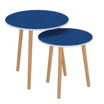 Príručné stolíky, set 2 ks, modrá/biela, BRIX