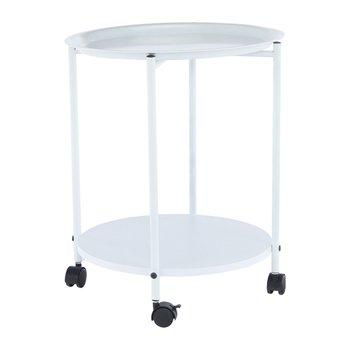 Príručný stolík s odkladacou táckou, biela, DERIN