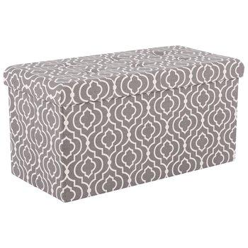 Skladací taburet,  siva látka/biely vzor, FARGO, rozbalený tovar