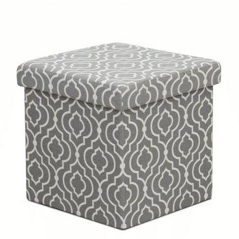 Skladací taburet, sivá látka/biely vzor, MARLO