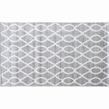 Koberec, svetlosivá/vzor v slonovinovej, 57x90, DESTA